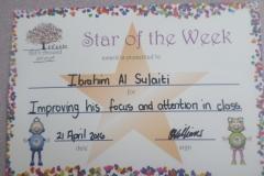 Star Of The Week (Pre School Classes) 21-04-2016